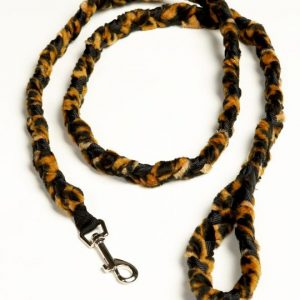 Braided Fur Snap Leash Cheetah