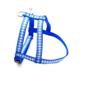 Blue Gingham Dog Harness