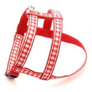 Red Gingham Dog Harness
