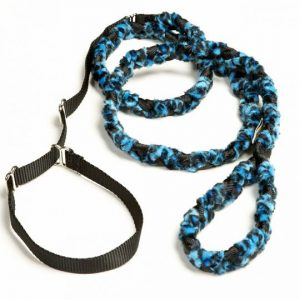 Braided Fur Humane Slip Leash Blue