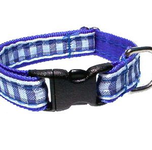 Blue Gingham Breakaway Cat Collar