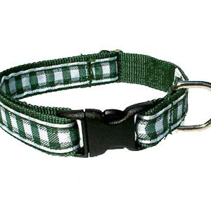 Green Gingham Breakaway Cat Collar