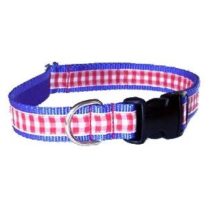 All American Blue Gingham Cat Collar