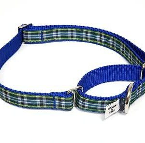 MacLeod Blue Plaid Martingale Dog Collars
