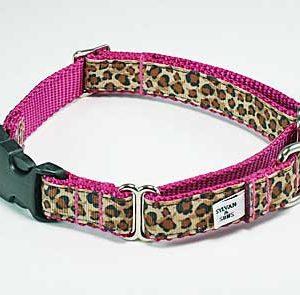 Pink Safari Buckle Martingale Dog Collar