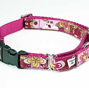 Crazy Dazie Carnation Pink Buckle Martingale Collar