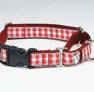 Red Gingham Buckle Martingale Dog Collar