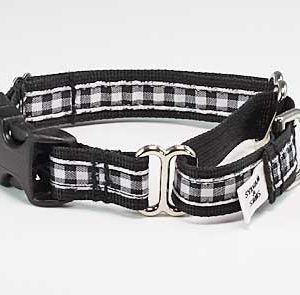 Black & White Gingham Buckle Martingale Collar