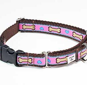 Hearts & Bones Buckle Martingale Dog Collar