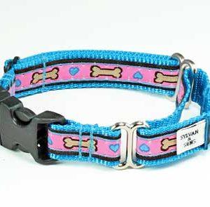 Tahitian Turquoise Hearts Buckle Martingale Dog Collar