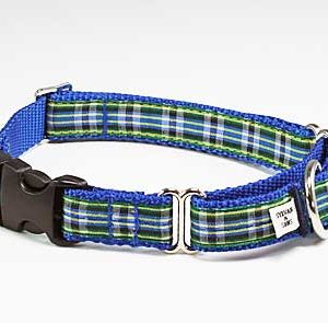 MacLeod Blue Plaid Buckle Martingale Collar