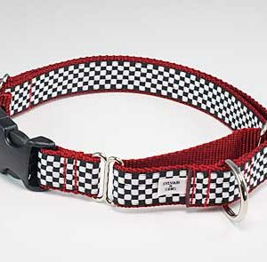 Motor Speedway Red Buckle Martingale Dog Collar