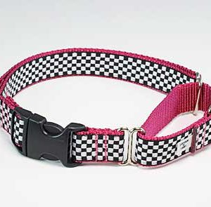 Speedway Pink Sports Car Buckle Martingale Dog Collar