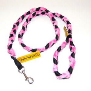 Pink Braid Fur Snap Leash