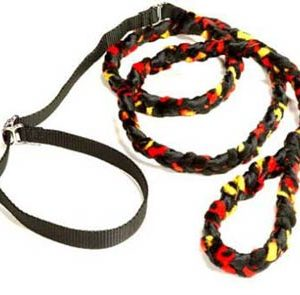 Braided Fur Leash Fire