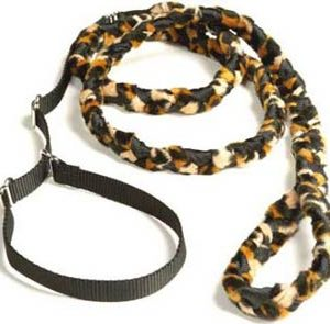 Braided Fur Leash Cheetah